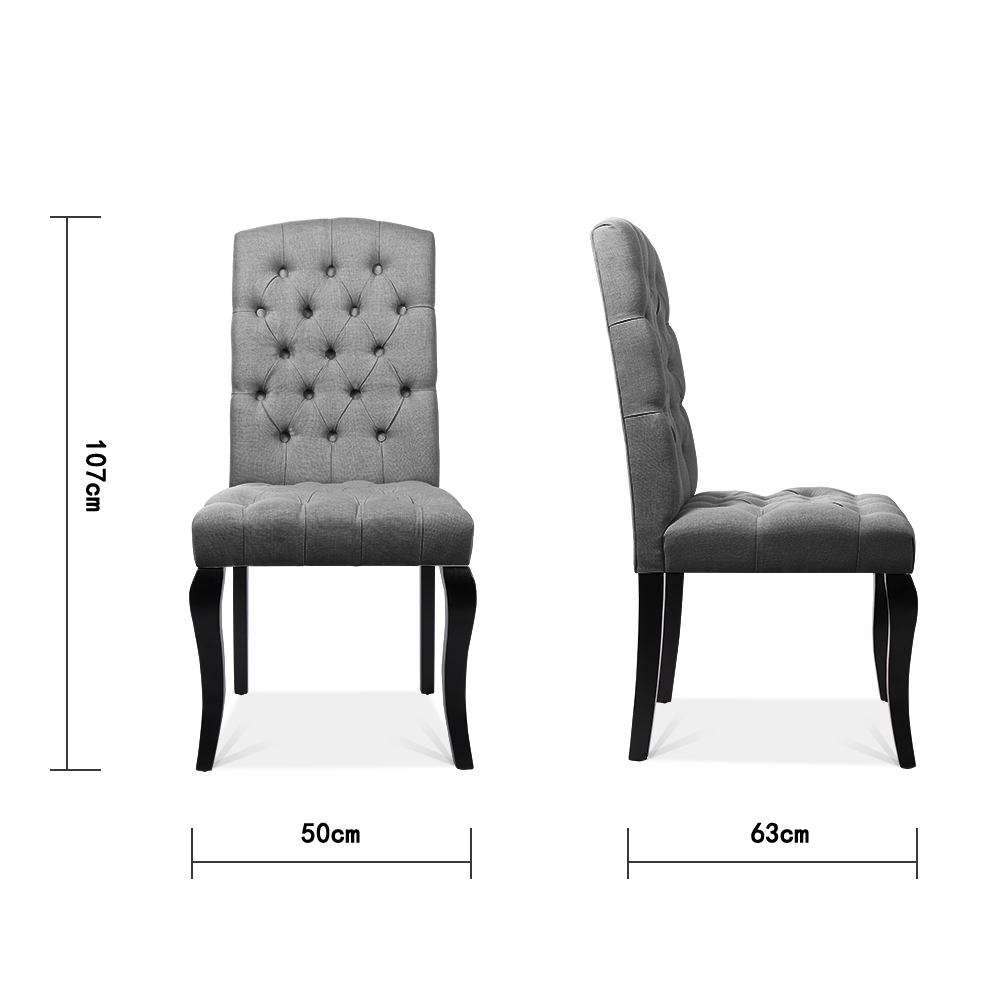Set of 2 All-buttoned Linen Dining Chairs