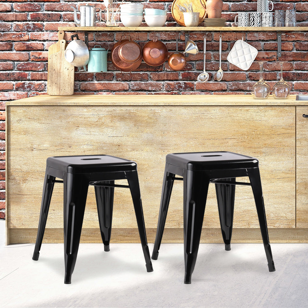 Gloss Black Square Metal Chair Sets
