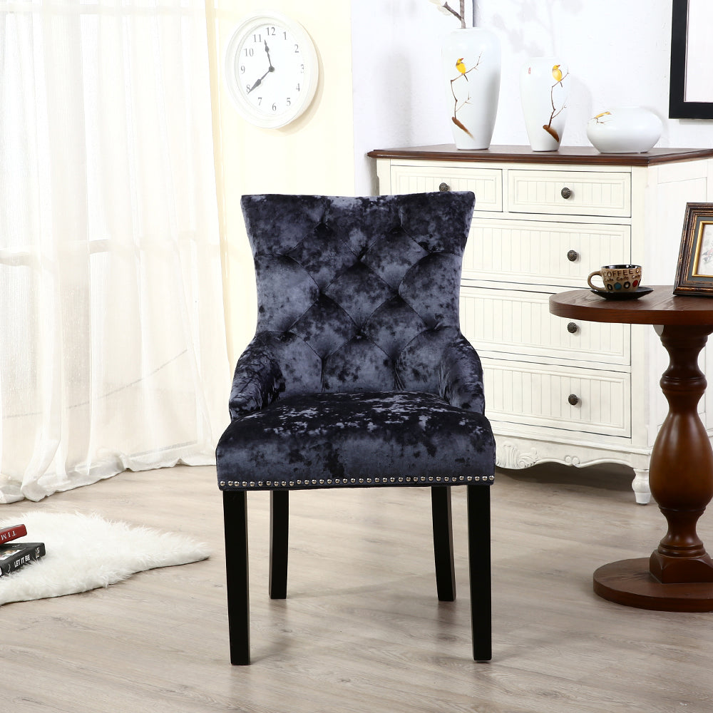 Set of 2 Ringed Buttoned Ice Crushed Velvet Dining Chairss