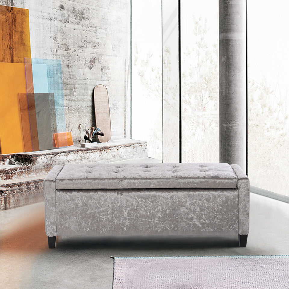 Silver Grey Chesterfield Ice Crushed Velvet Upholstered Storage Bench