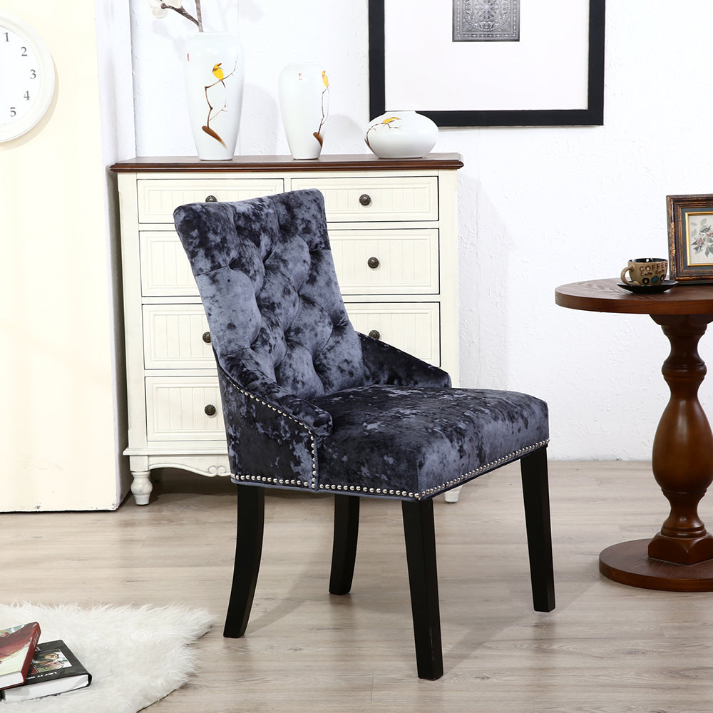 Set of 2 Ringed Buttoned Ice Crushed Velvet Dining Chairs