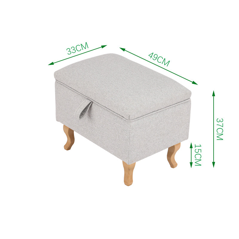 Small Sized Linen Upholstered Storage Ottoman with Retro Legs