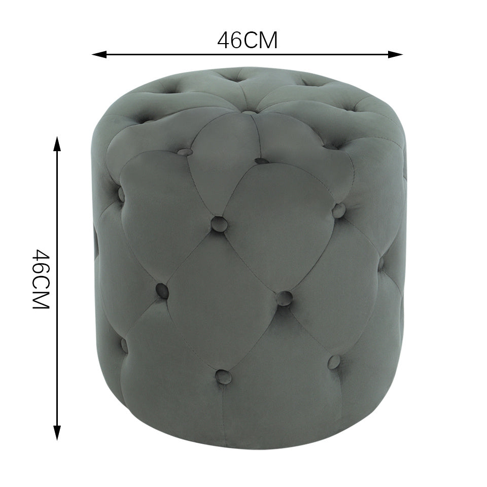 Round Chesterfield Fully-Buttoned Velvet Footstool