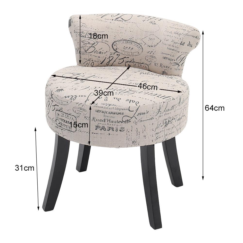 Fabric Vanity Stool Dining Chair Alphabet Patterned Dressing Table Seat Stool