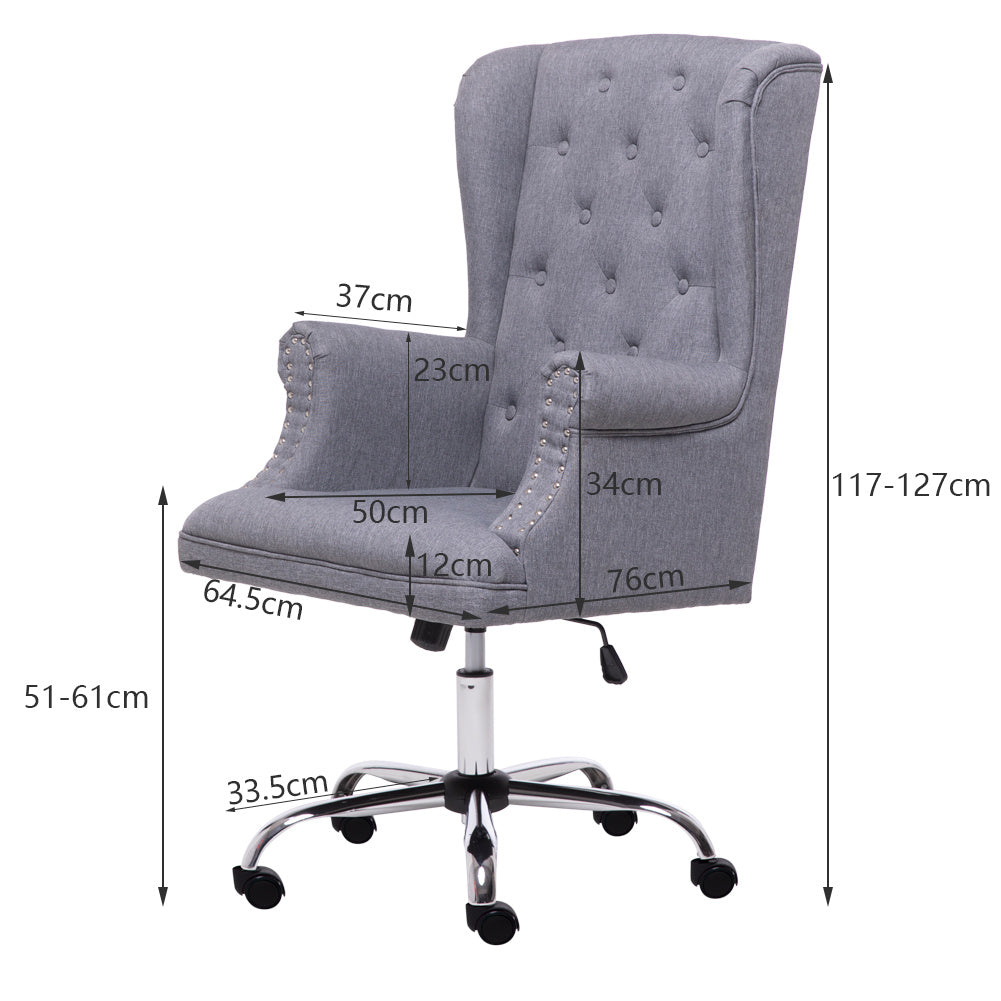 Linen Upholstered Computer Desk Chair High Back Swivel Office Executive Armchair
