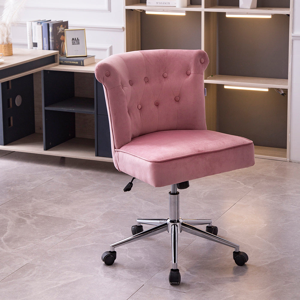 Linen Ergonomic Office Chair Swivel Gas Lift Buttoned Upholstered Accent Chair