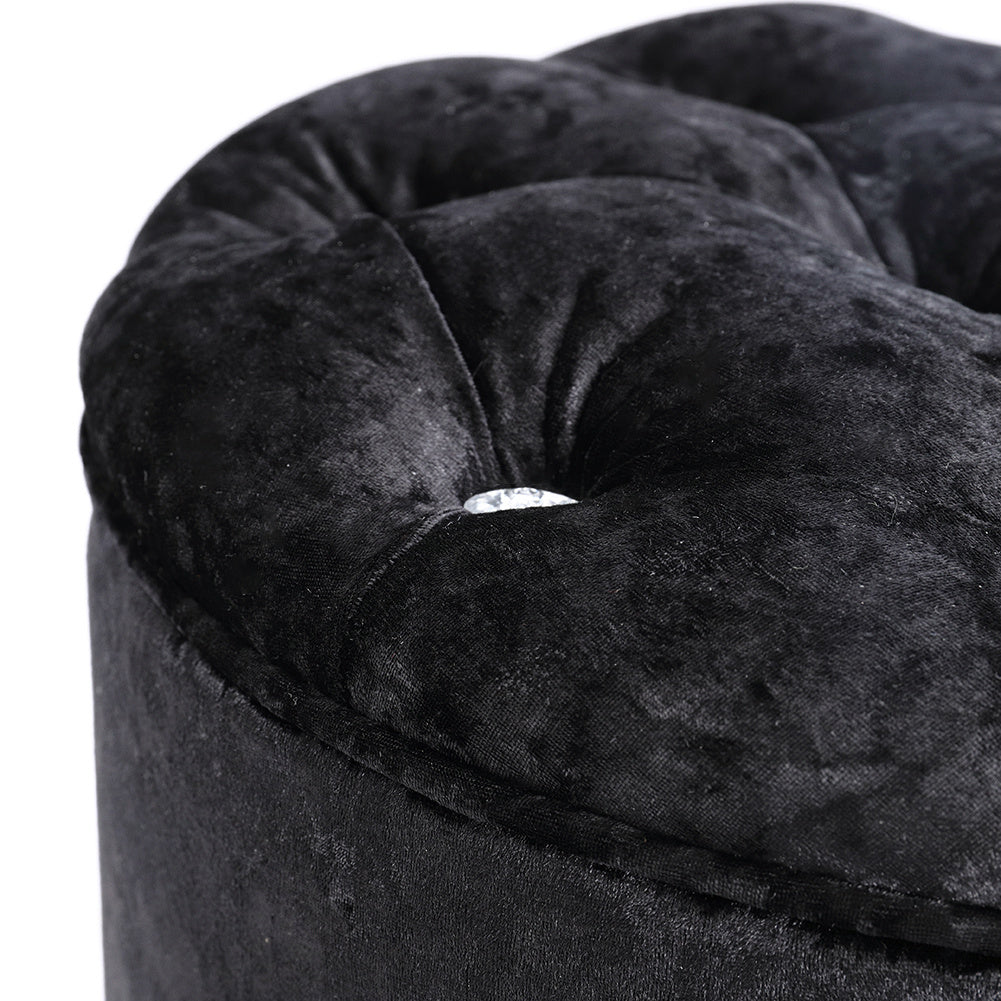 Round Shining Chesterfield Ice Crushed Velvet Footstool