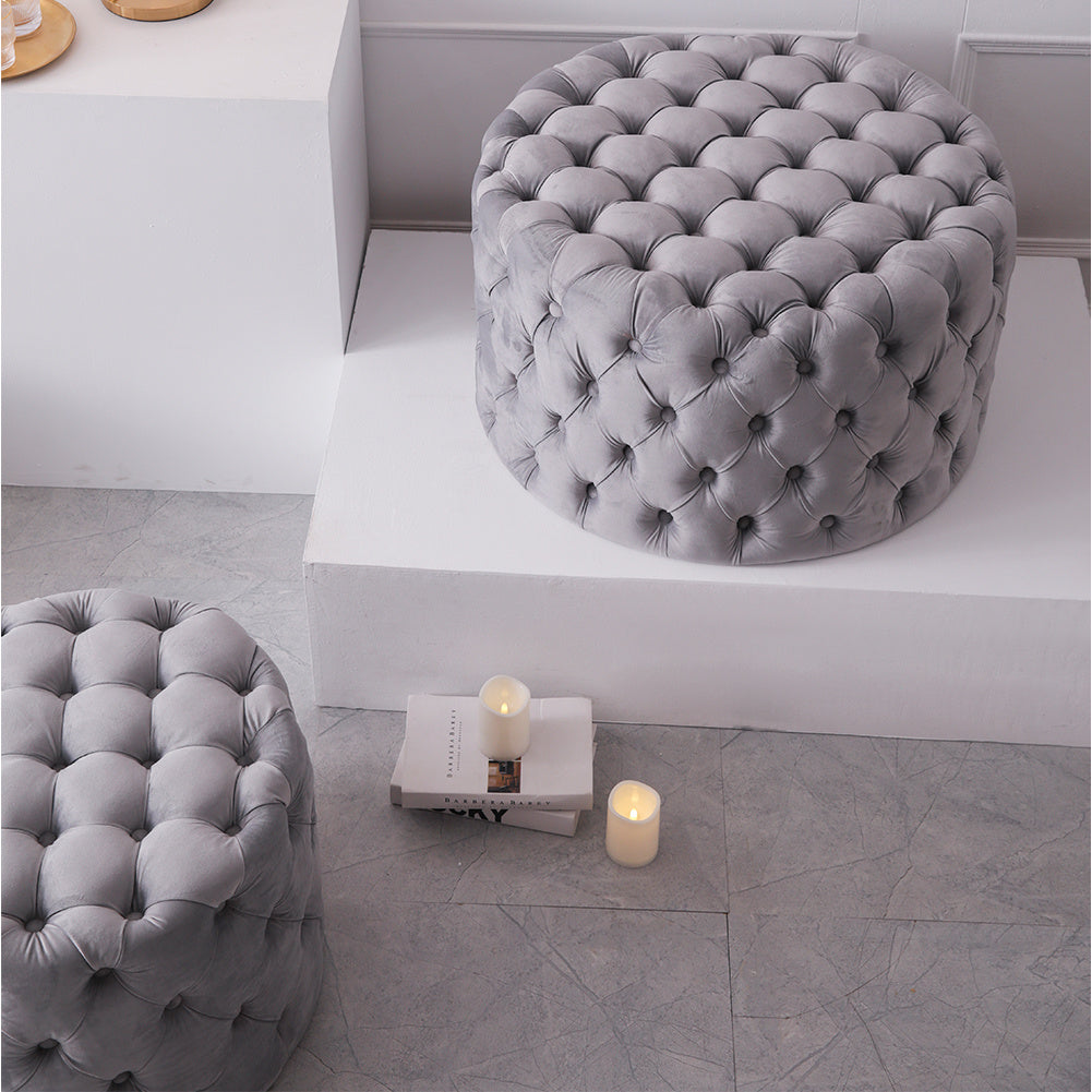 Velvet Chesterfield Coffee Table Footstool Extra Deep Button Ottoman Pouffe