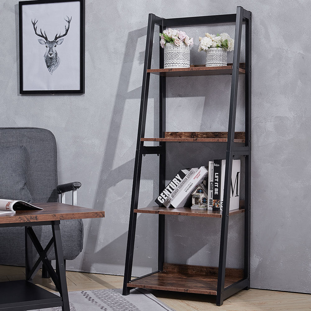 4 Tier Wooden Ladder Corner Shelf Bookcase Plant Stand