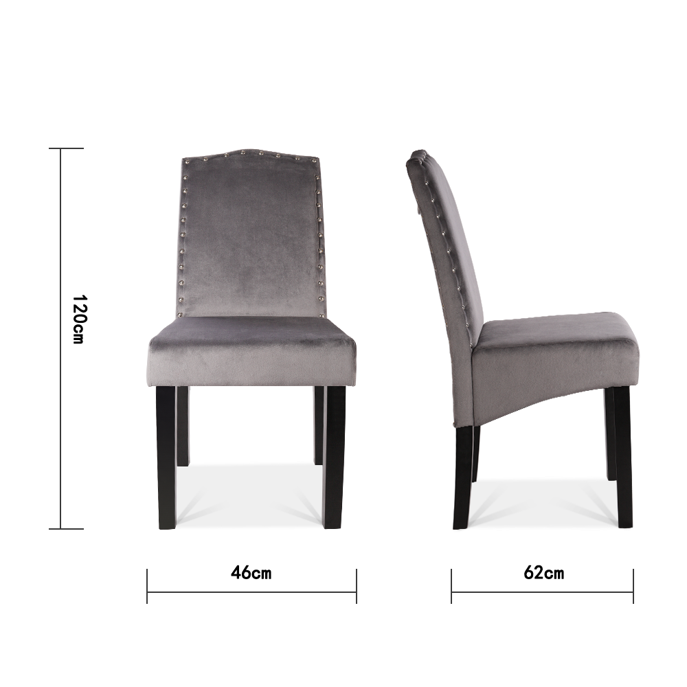 Set of 2 Grey Ringed Velvet Dining Chairs
