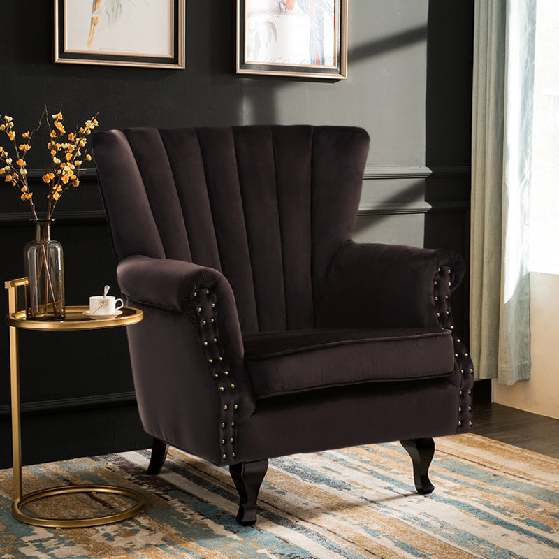 Retro Velvet Lined-back Armchair