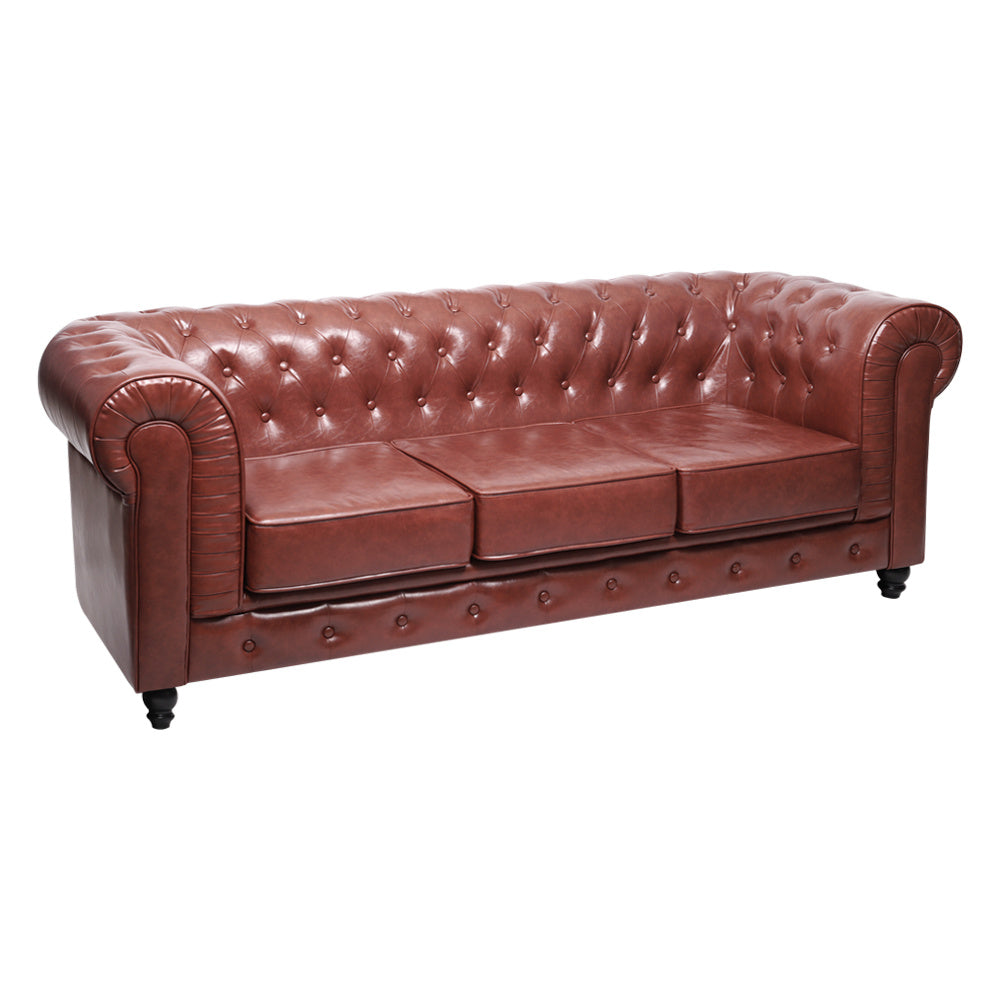 3 Seater Sorrel Chesterfield Leather Sofa