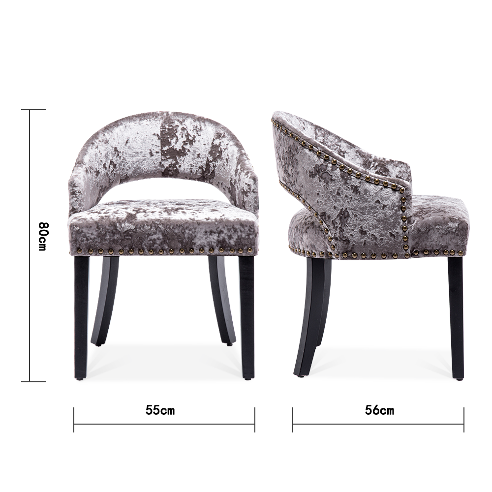 Ice Crushed Velvet Low-backed Dining Chair