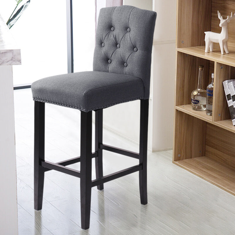 Buttoned Upholstered Linen Bar Stool