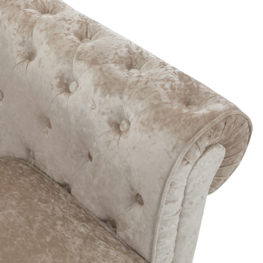 2 Seater Ice Crushed Velvet Sofa in Beige Chesterfield
