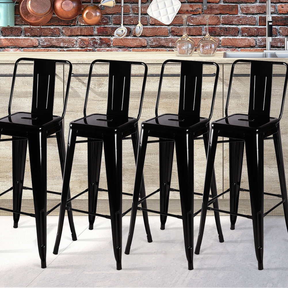Set of 4 Gloss Black Metal Bar Stool