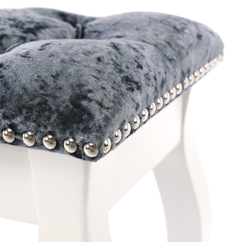 Silver Grey Ice Crushed Velvet Upholstered Dressing Chair