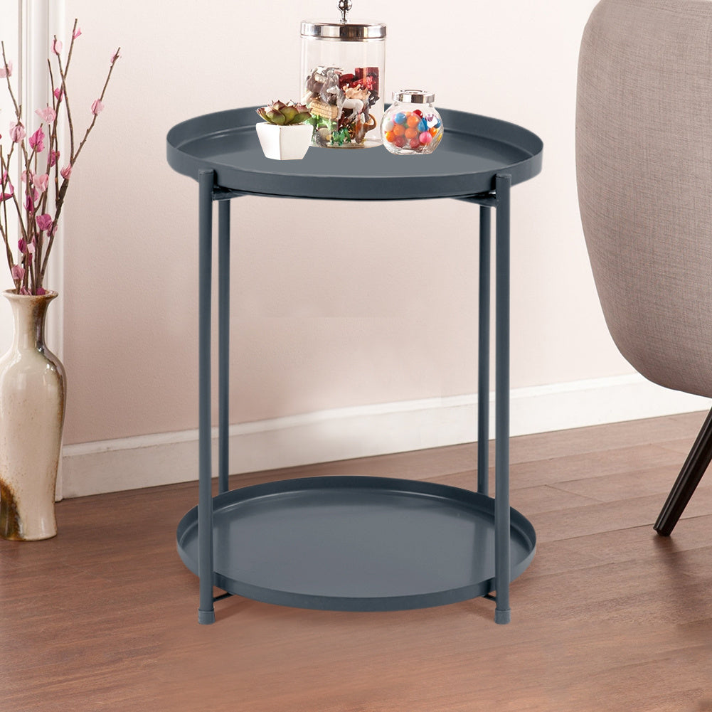2-Tier Modern Slim Round End Table