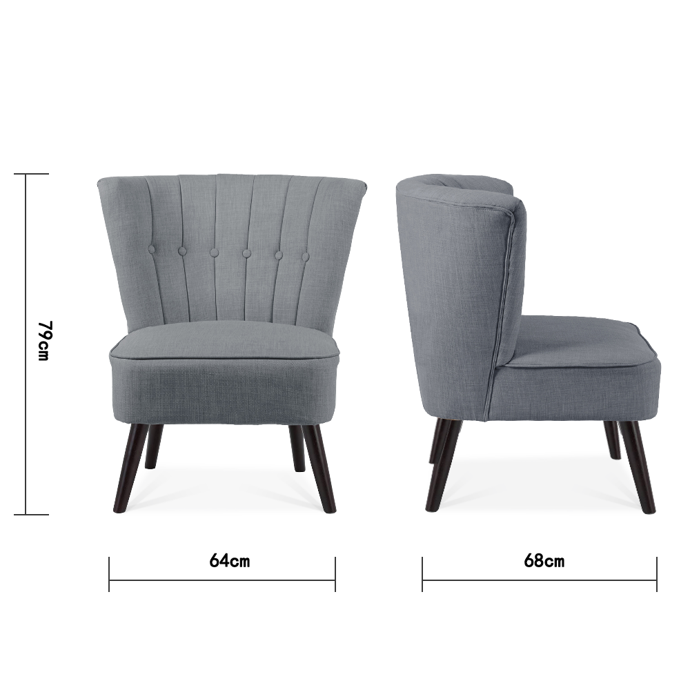 Buttoned Linen Black-legs Cocktail Chair