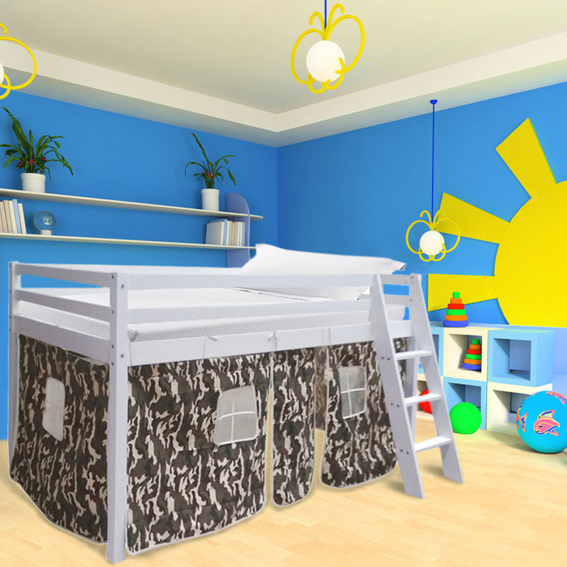Wooden Bed for Kids & Camouflage Tent