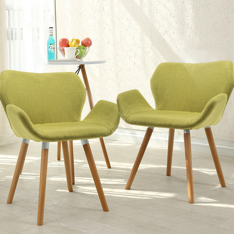Set of 2 Blossom Linen Dining Chairs Lime Green