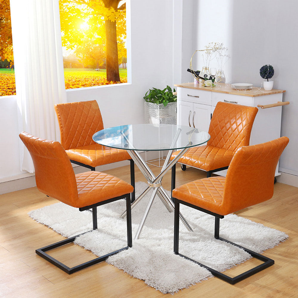 Simple Diamond Leather Cantilever Chairs