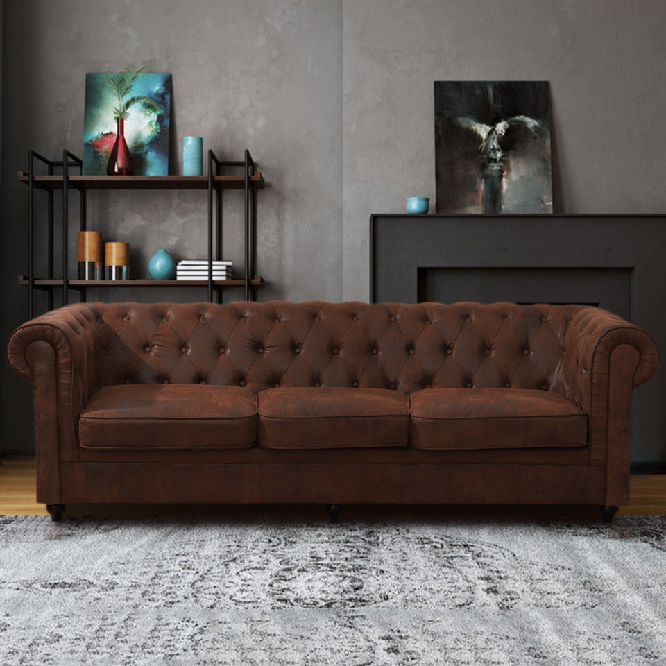 3 Seater King Sofa in Chesterfield Suede Leather