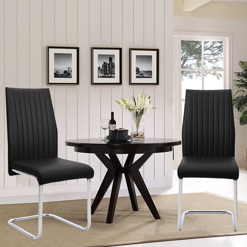 Set of 2 Verline-R Leather Cantilever Chairs