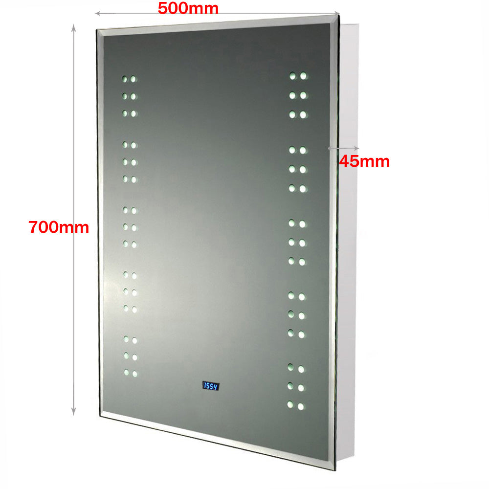 Bathroom LED Digital Clock Mirror 700x500mm with Shaver Socket
