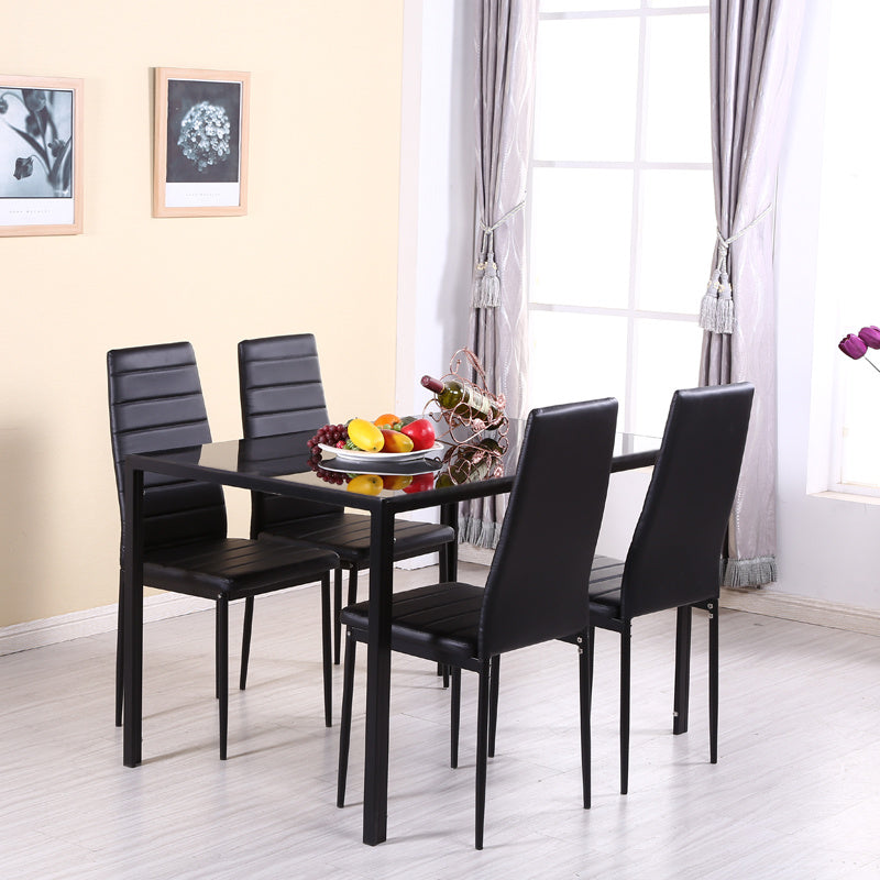 Tempered Glass Top Dining Table Chairs Set For 4 Person Kitchen Dinner Furniture