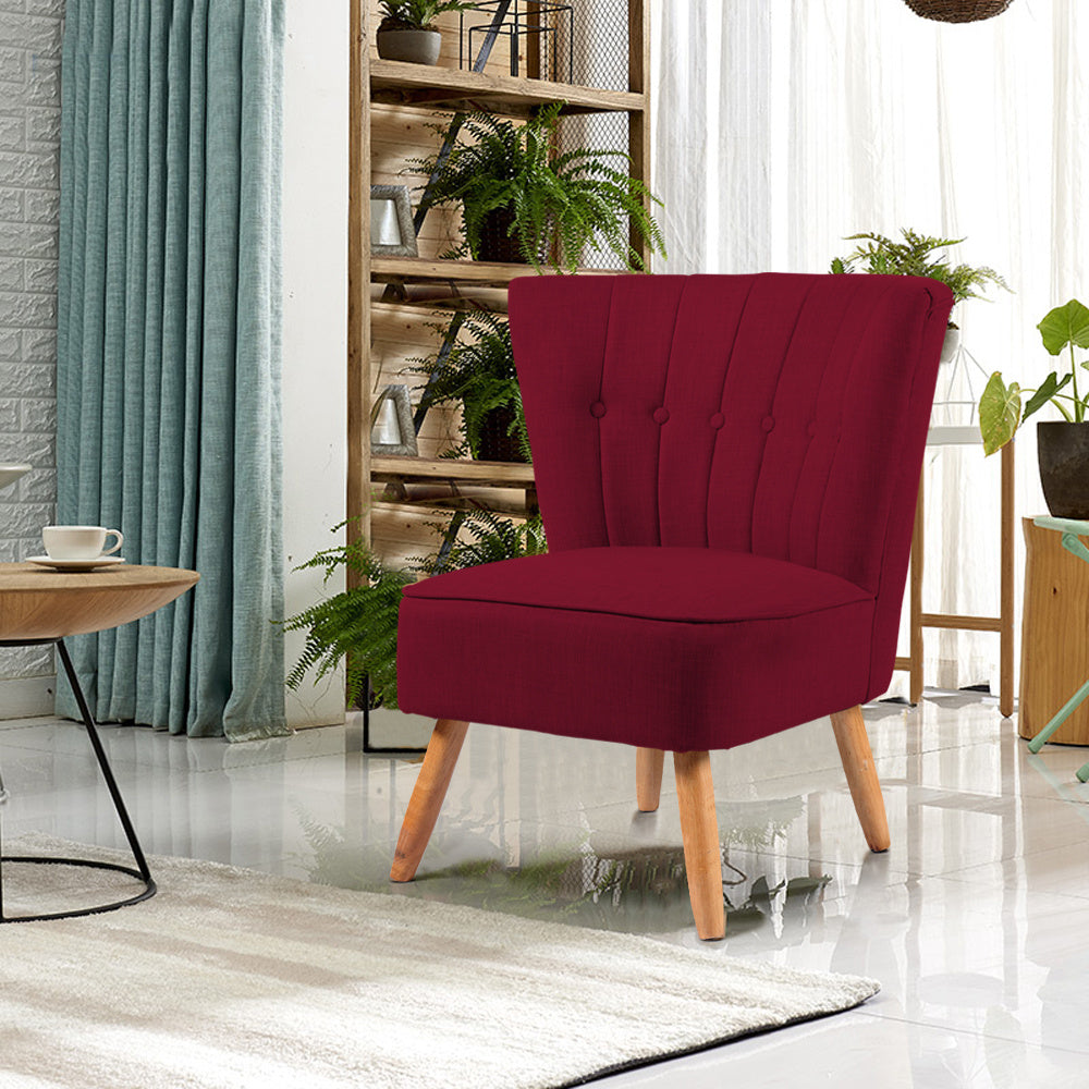 Buttoned Velvet Black-legs Cocktail Chair