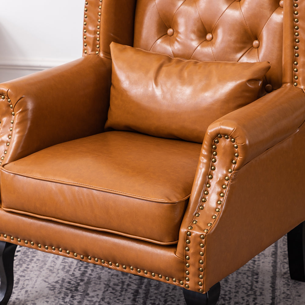 Retro Chesterfield Burnished Leather Wingback Armchair
