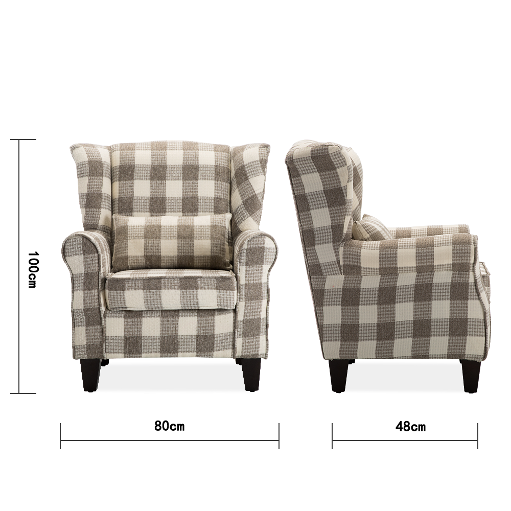 Light Coffee Plaid Linen Walnat Wingback Armchair