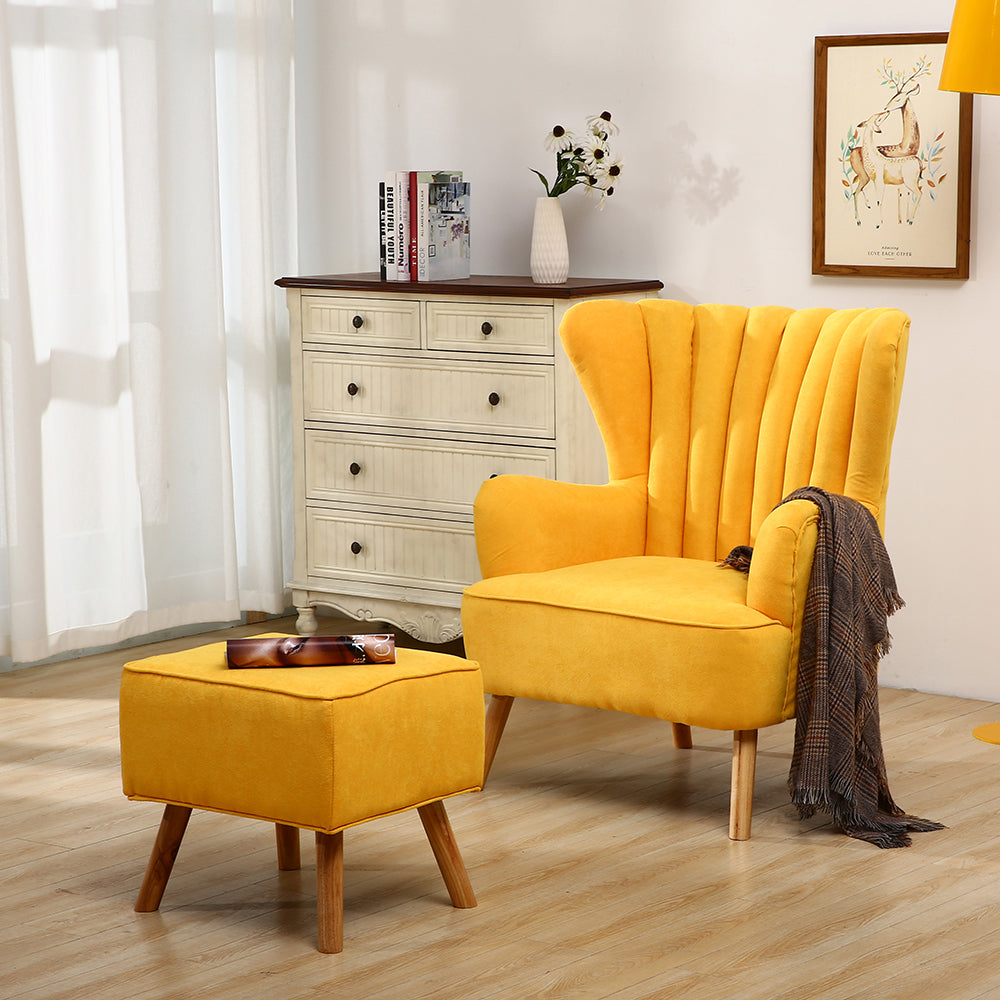 Suede Fabric Lined Wingback Armchair & Footstool