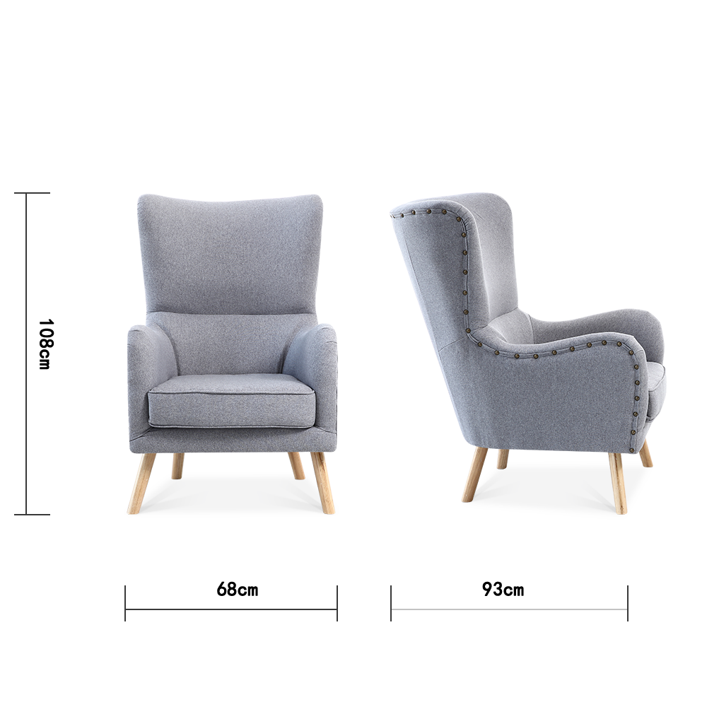 Pinned Linen Wingback Armchair & Footstool