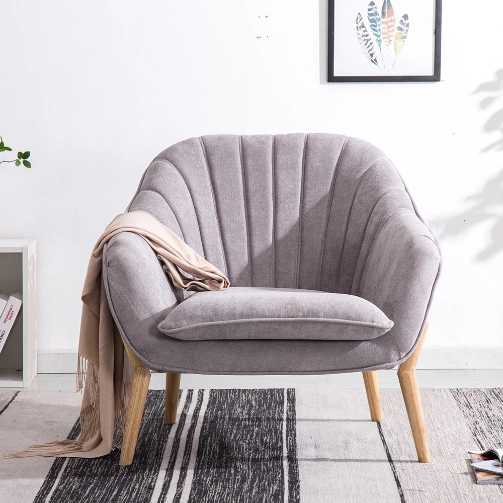 Light Suede Fabric Lined-Back Armchair