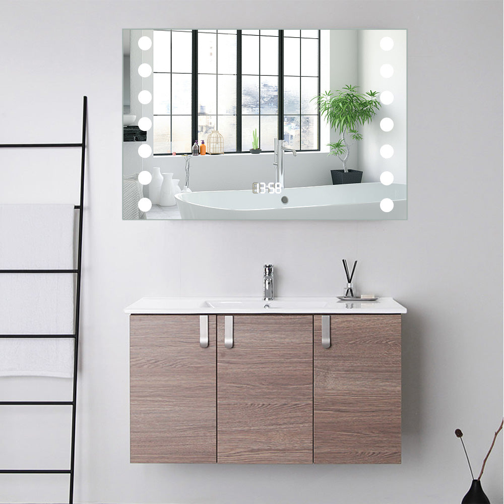 Bathroom Sensor Control Edge Lit LED Mirror Cabinet with Shaver Socket
