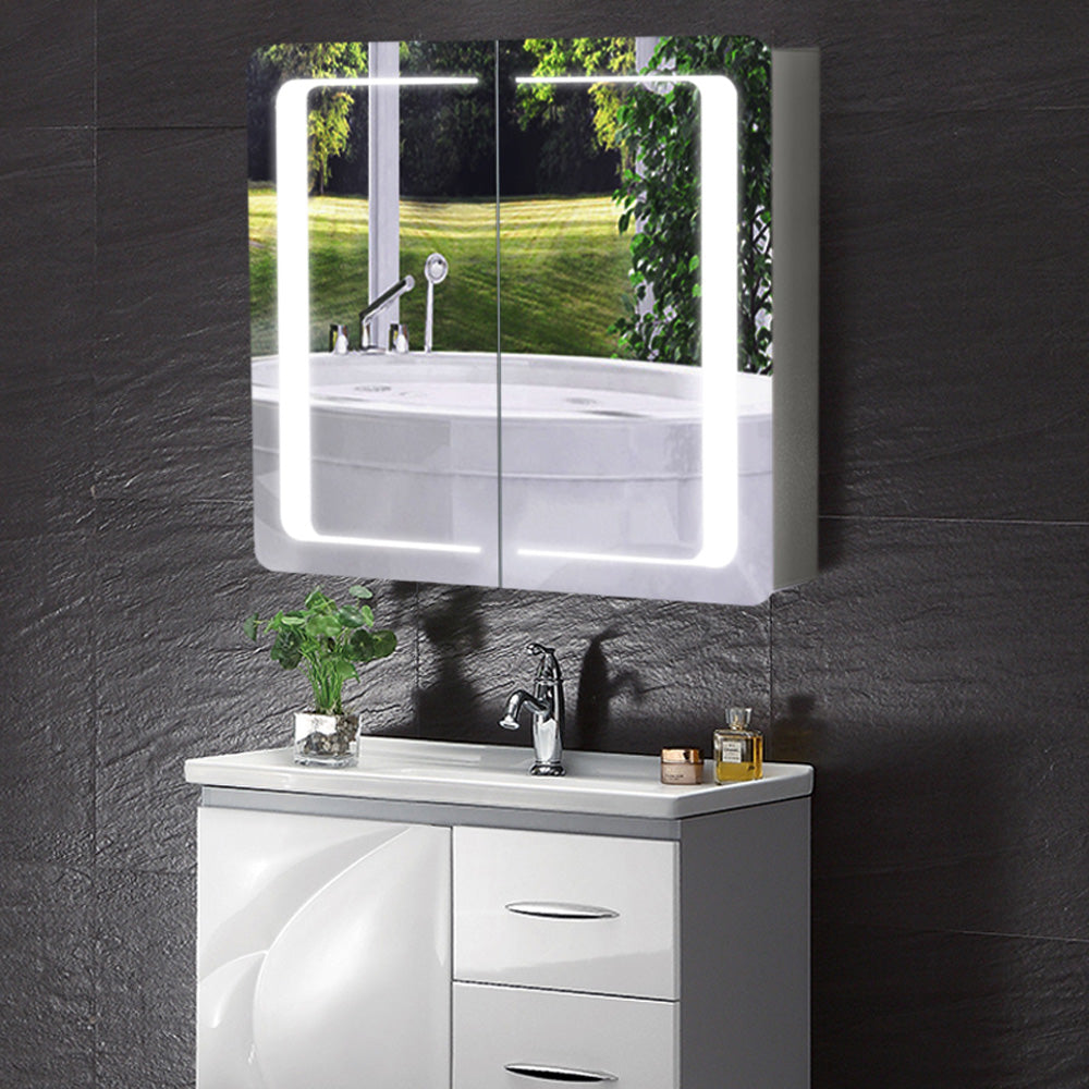 2 Door Bluetooth Audio Sensor LED Mirror Cabinet with Shaver Point