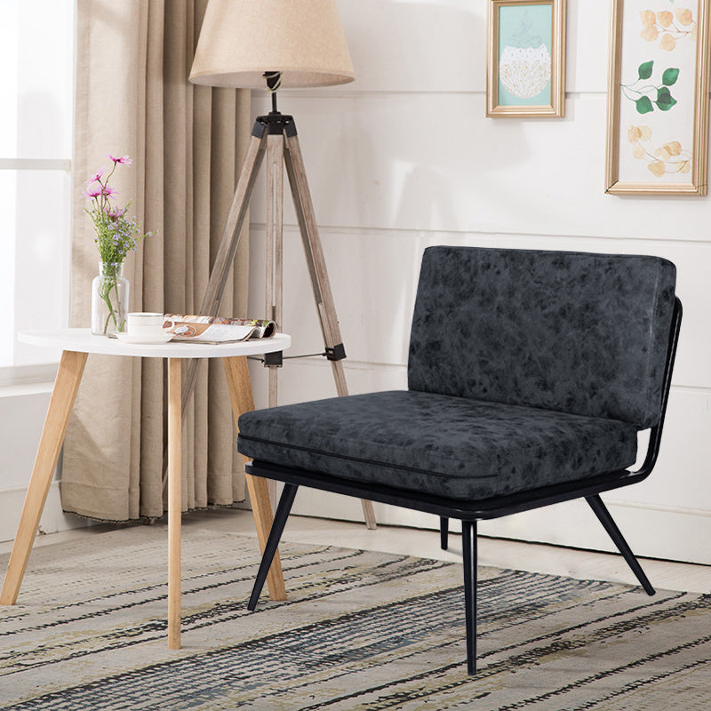 Metal Framed Nubbuck Leather Accent Chair