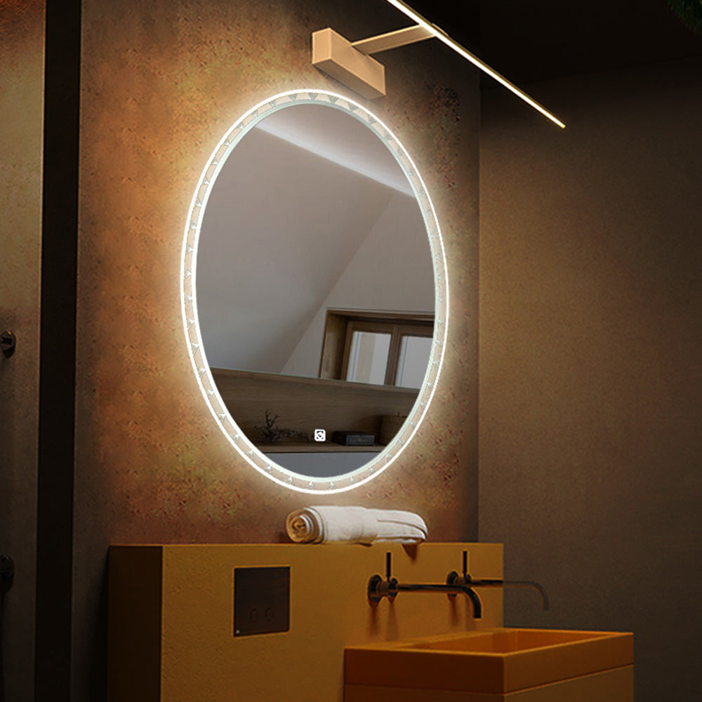 Bathroom Touch Adjustable Dimmable Oval LED Defogger Mirror