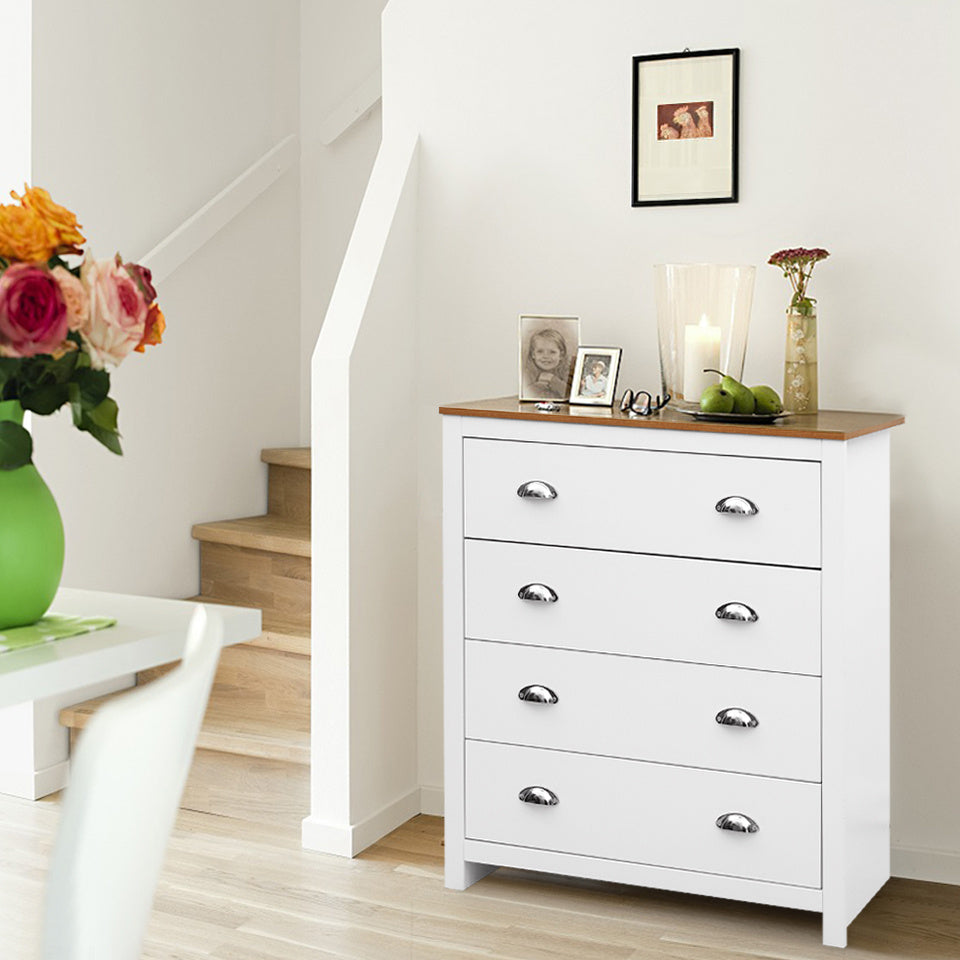 Versatile 4-Drawer White Storage Cabinet