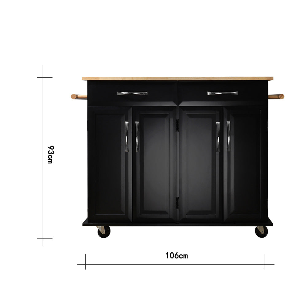 Deluxe Black Kitchen Storage Rolling Cabinet Trolley