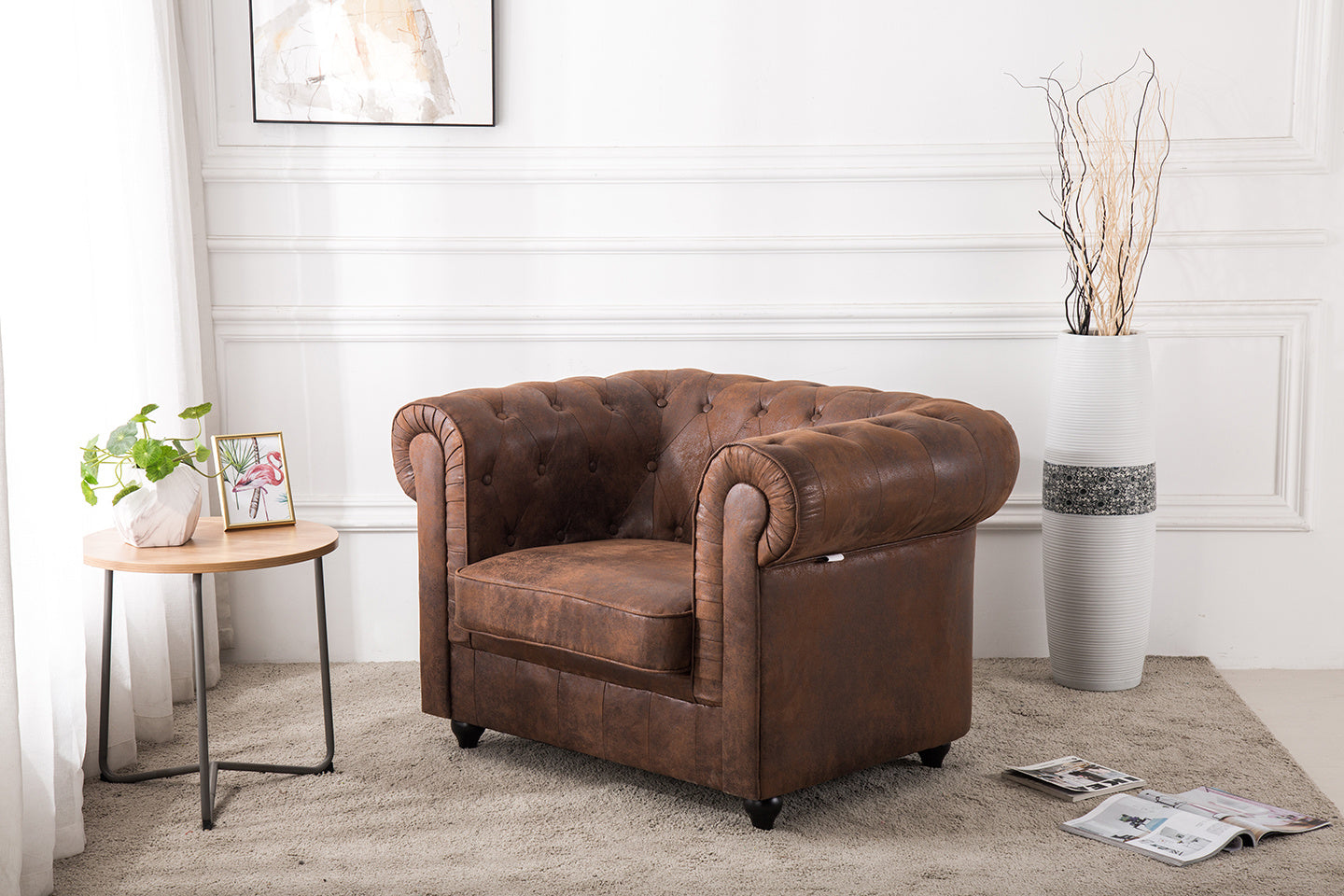 King Armchair in Chesterfield Suede Leather