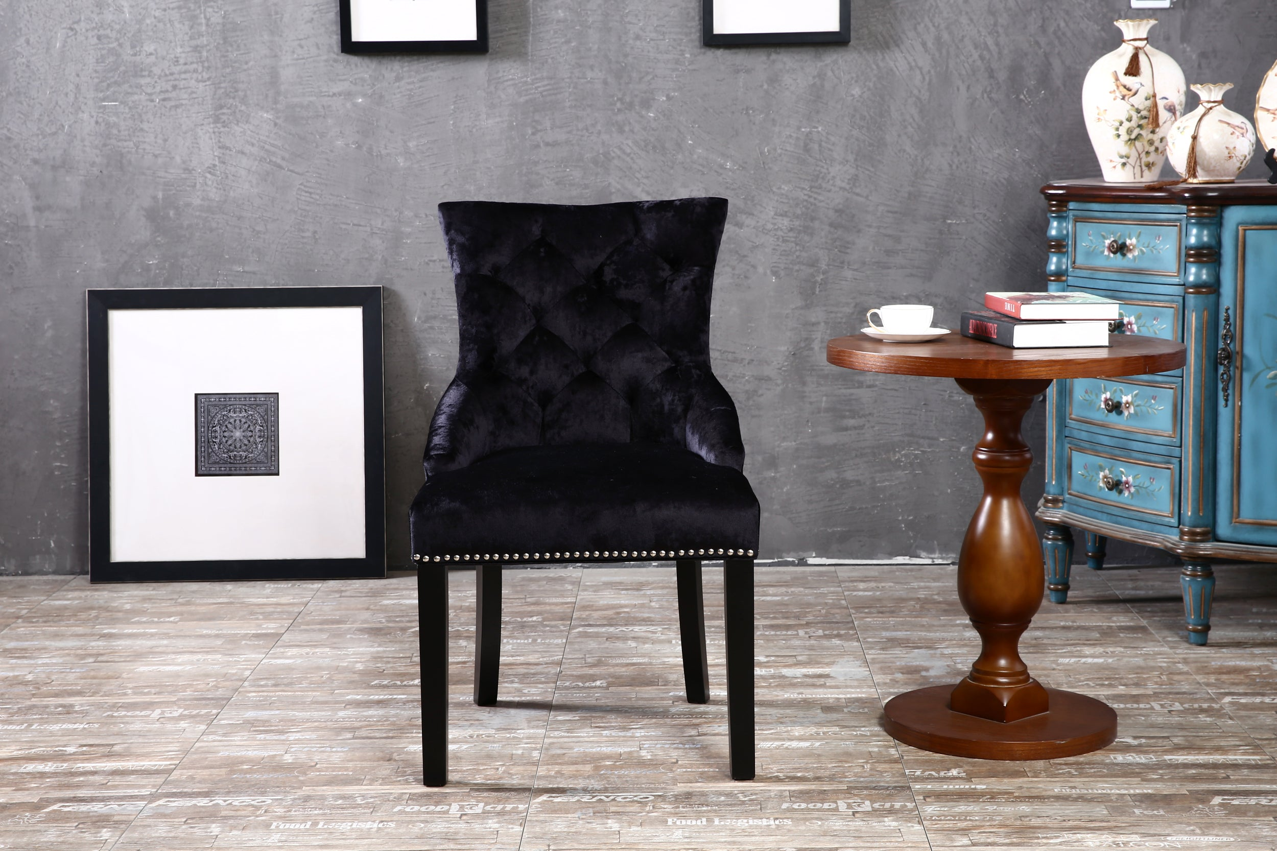 Set of 2 Ringed Buttoned Plus Ice Crushed Velvet Dining Chairs