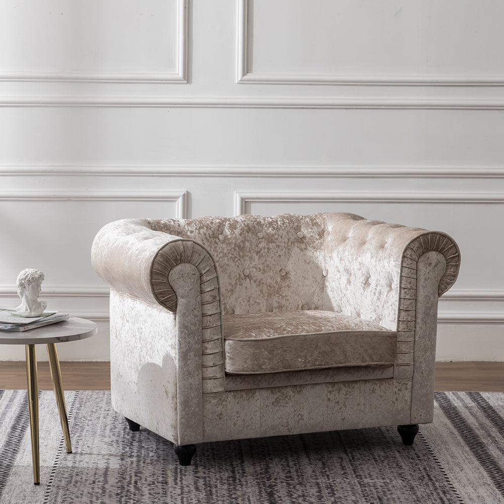 Ice Crushed Velvet Armchair in Beige Chesterfield