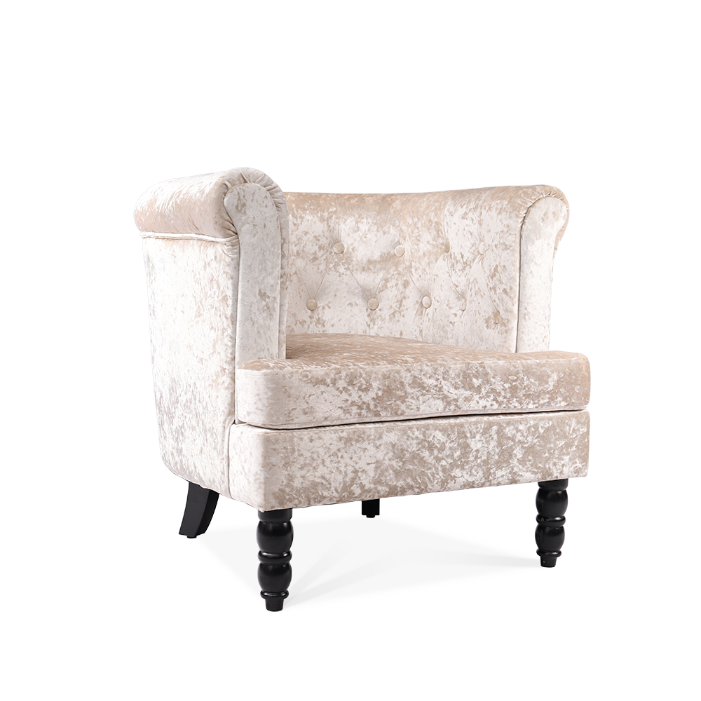 Ice Crushed Velvet Tub Chair in Silver Chesterfield