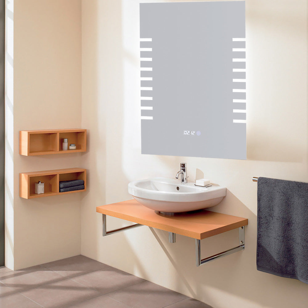 Bathroom Side Ambient Sensor LED Mirror with Digital Clock