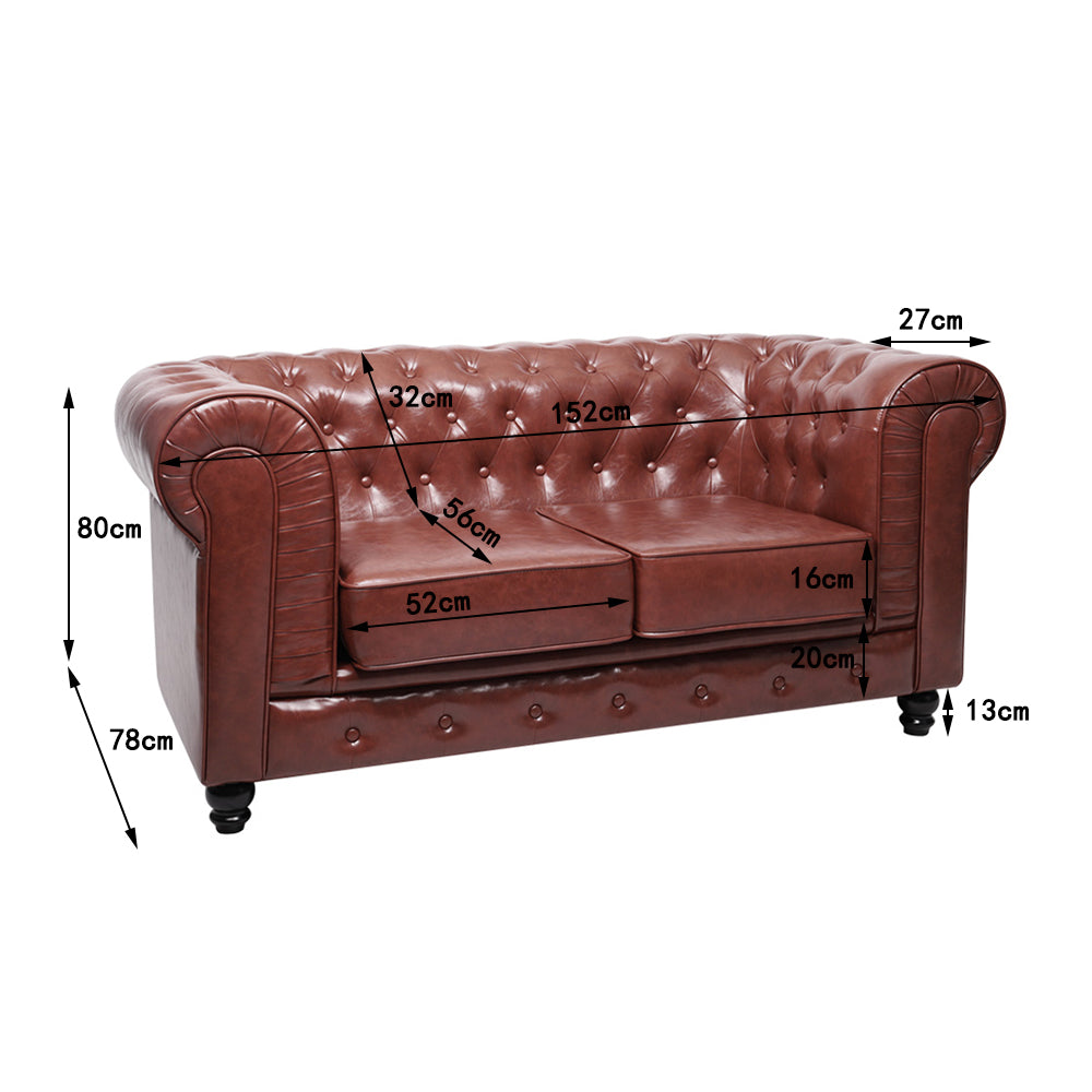 2 Seater Sorrel Chesterfield Leather Sofa