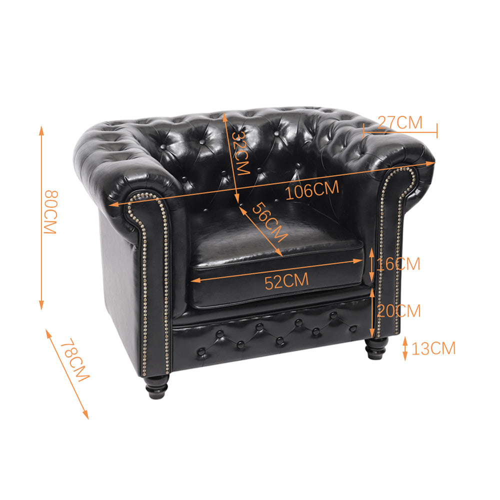 Black Chesterfield Leather Armchair