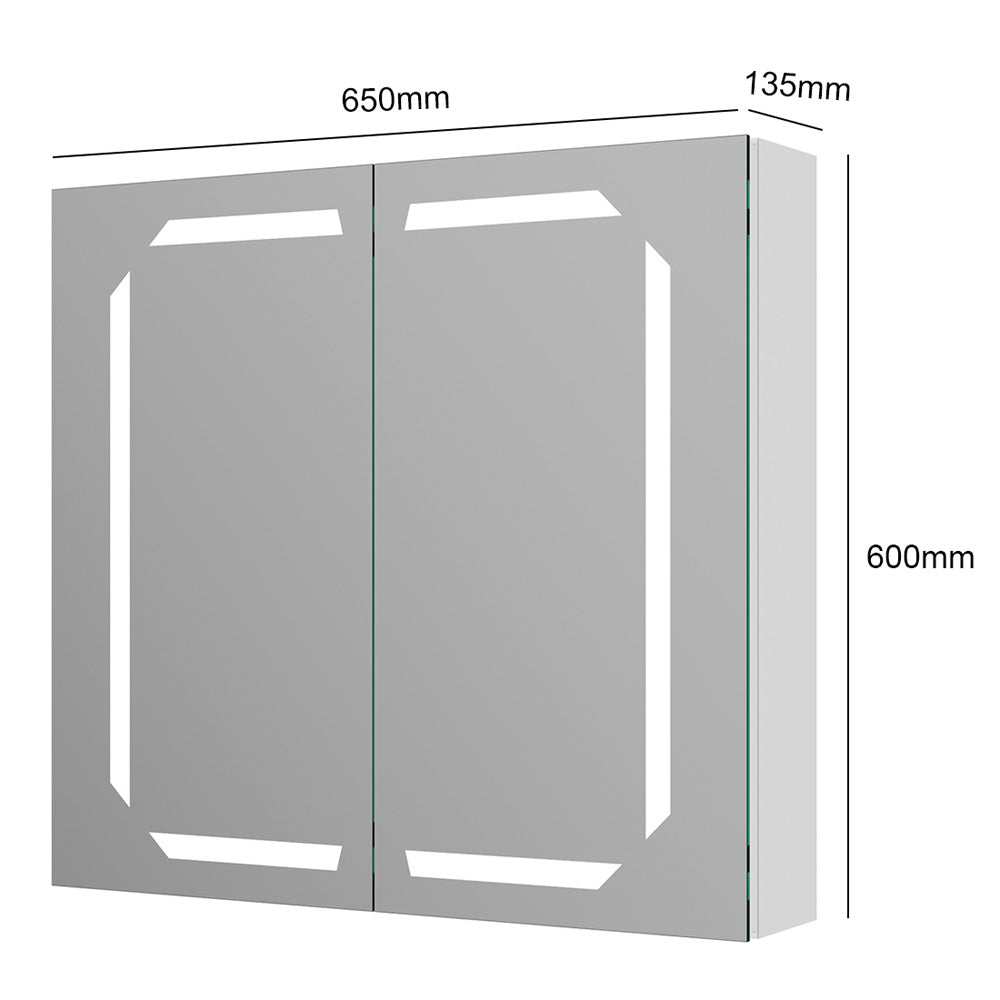 2 Door Wall Mounted IP44 LED Mirror Cabinet in Silver Aluminium